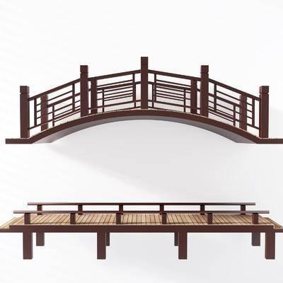 新中式桥栈道桥廊桥, 人行桥, 古建桥, 桥, 新中式