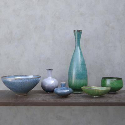 新古典彩色彩釉坛子, 瓶子, 碗罐