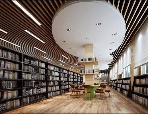 图书馆, 书柜, 木桌, 木椅, 书, 现代