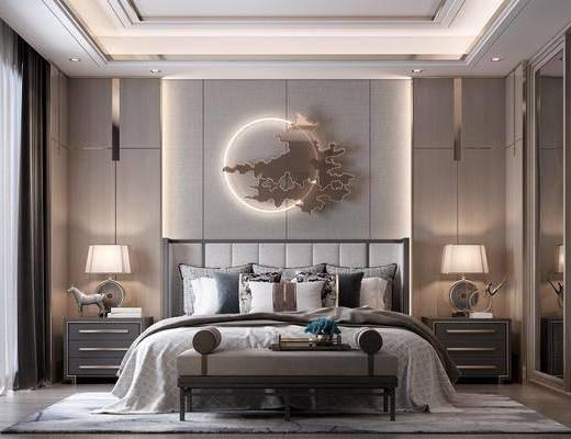 双人床, 床尾踏, 墙饰, 床头柜, 台灯, 衣柜