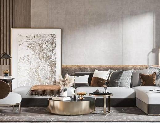 现代沙发茶几组合, 沙发组合, 现代沙发