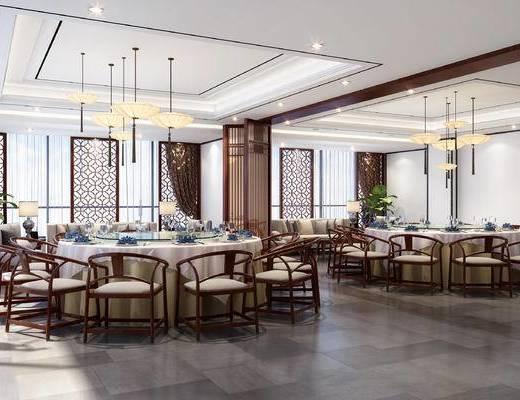 新中式, 包间, 包厢, 新中式包间, 中式桌椅, 中式吊灯