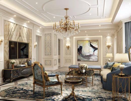 客厅, 多人沙发, 边几, 台灯, 单人椅, 茶几, 电视柜, 边柜, 壁灯, 装饰画, 挂画, 花瓶花卉, 装饰品, 陈设品, 摆件, 欧式轻奢