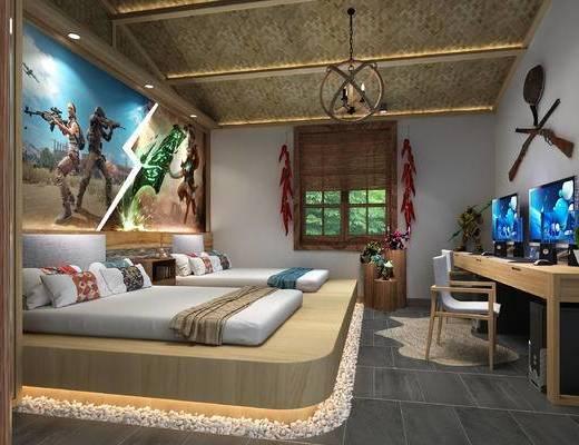 单人床, 酒店, 墙饰, 电脑桌