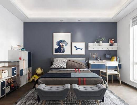 儿童房, 卧室, 床具组合, 桌椅组合, 书籍, 装饰架, 装饰柜, 摆件组合, 挂画组合, 床尾凳, 现代
