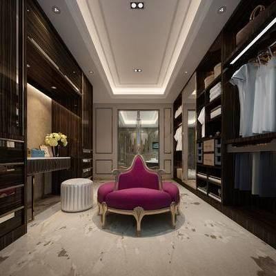 欧式, 衣帽间, 沙发, 凳子, 衣服, 花瓶