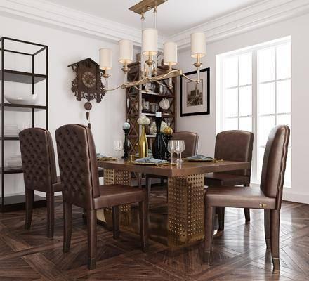 餐厅, 餐桌, 餐椅, 单人椅, 吊灯, 餐具, 装饰柜, 摆件, 装饰品, 陈设品, 装饰架, 美式