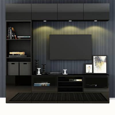 电视柜, 电视, 装饰画, 蜡烛台, 书籍, 灯, 装饰品, 现代