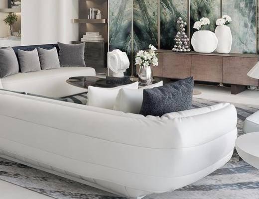 沙发组合, 茶几, 边柜, 背景墙, 边几, 摆件组合
