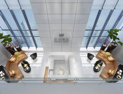 现代, 写字楼, 前台, 桌椅组合