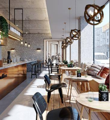 吧台, 咖啡厅, 桌椅组合, 吧椅, 吊灯