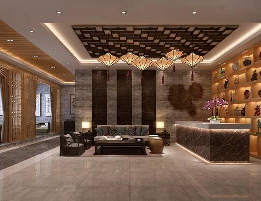 中式休息区, 酒柜, 茶柜, 茶馆, 餐厅, 中式屏风, 挂件