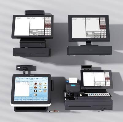 收银机, 点餐机, 现代, 显示器, 显示屏, 键盘