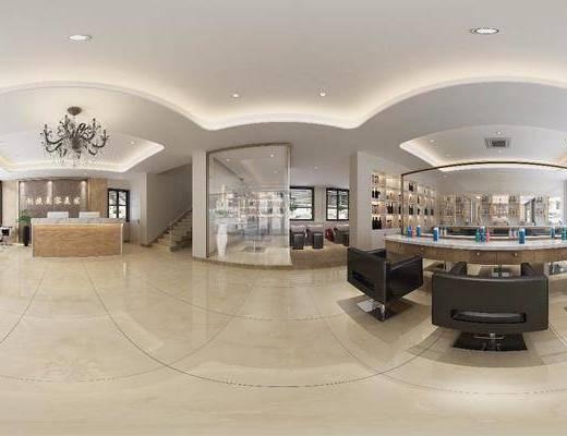 美发店, 工装全景, 装饰镜, 前台, 单人沙发, 洗发水, 吊灯, 桌子, 单人椅, 现代