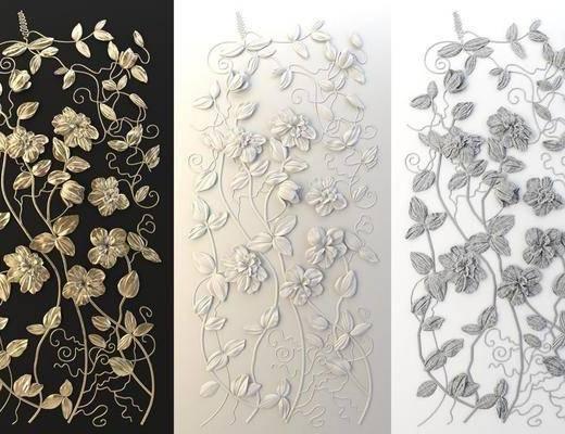 现代金箔雕花装饰墙, 现代, 雕花