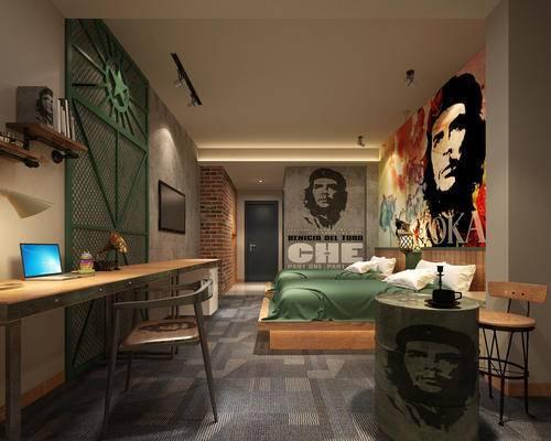 客房, 书桌椅, 双人房, 床, 现代客房, 卧室