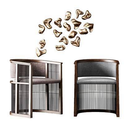 单人椅, 墙饰, 休闲椅, 新中式