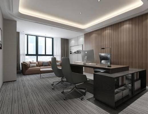 现代办公室, 经理办公室, 办公桌, 沙发
