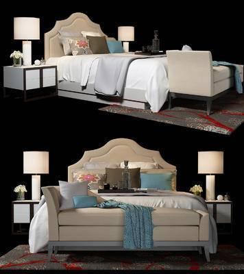 现代, 床具, 双人床, 床头柜, 台灯, 摆件, 太妃椅, 尾榻, 沙发, 装饰品