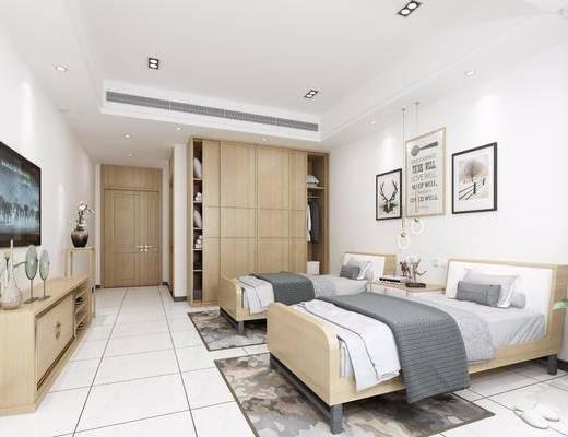 双人房, 病床, 挂画组合, 现代