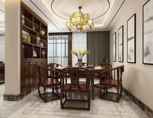 中式餐厅, 中式餐桌椅组合, 吊灯, 中式挂画, 酒柜, 置物柜, 装饰柜