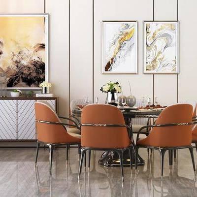 餐桌, 餐椅, 摆件, 边几, 挂画, 简欧
