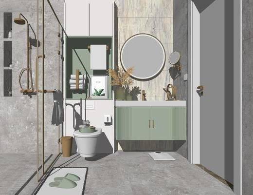 卫浴, 洗手盆, 壁镜, 马桶