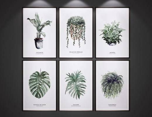 挂画, 绿植装饰画, 艺术画, 挂画组合
