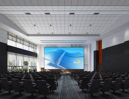 会议室, 报告厅, 单人沙发, 前台, 绿植植物, 树木, 现代