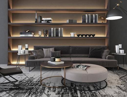 现代沙发茶几, 沙发茶几组合, 现代沙发, 现代茶几, 置物架, 摆件, 落地灯, 边几