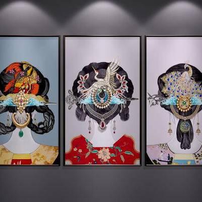中式装饰挂画, 新中式挂画, 新中式装饰画