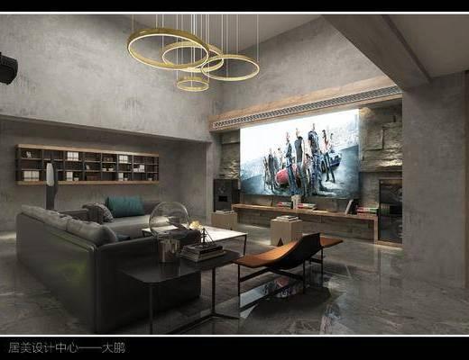 工业风, 地下室, 沙发组合, 吊灯, 餐桌椅, 置物柜, 装饰柜, 植物墙