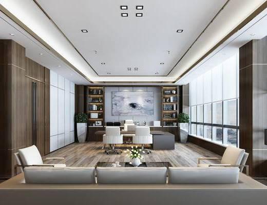 总经理办公室, 办公桌椅, 沙发茶几组合, 现代, 书柜