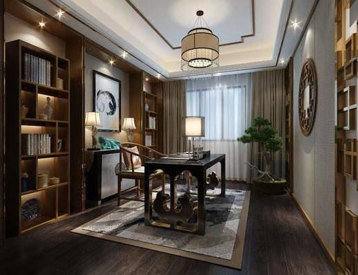 书房, 新中式书房, 书桌, 单椅, 书架, 植物, 盆栽, 新中式