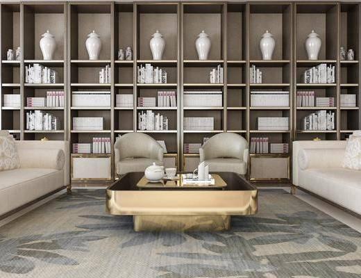 沙发组合, 多人沙发, 茶几, 单人沙发, 装饰柜, 书柜, 装饰品, 陈设品, 现代