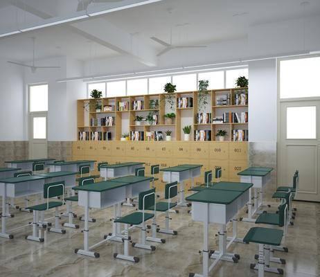 教室, 桌椅组合, 书桌课桌, 学校教室, 书柜组合, 现代