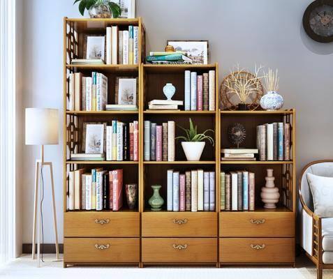 书柜, 装饰柜, 书籍, 落地灯, 单人沙发, 组合架, 新中式