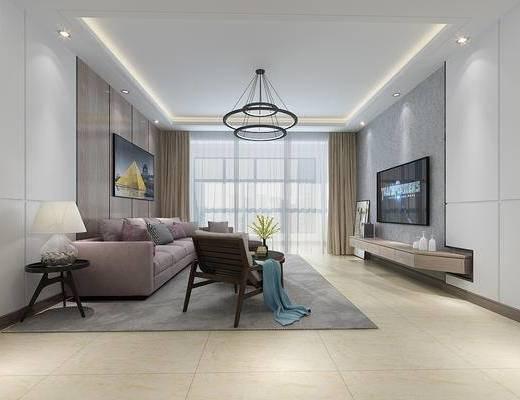 现代, 简约, 客餐厅, 现代沙发, 客厅, 餐厅, 电视柜, 餐桌