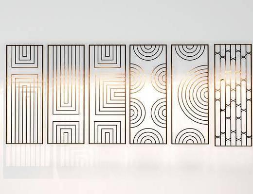 金属线条, 线条隔断, 隔断组合, 现代