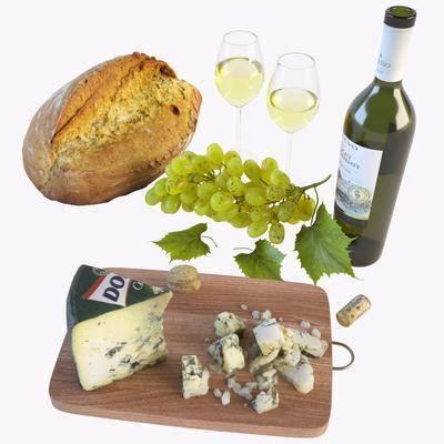 水果面包, 葡萄美酒, 芝士组合, 食物, 现代