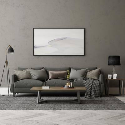 现代多人沙发组合, 多人沙发, 茶几, 边几, 挂画, 落地灯