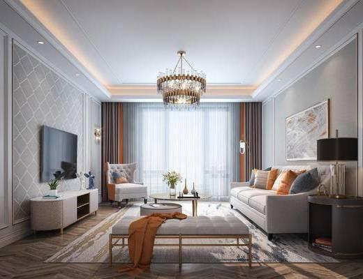 沙发组合, 吊灯, 电视柜, 装饰画, 餐桌, 墙饰, 壁灯