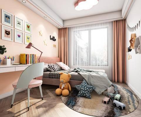 单人床, 窗帘, 书桌, 装饰画, 背景墙