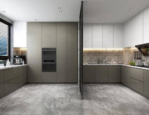 厨房, 橱柜, 洗手台, 摆件, 装饰品, 陈设品, 现代