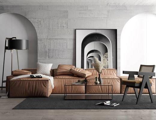 沙发组合, 茶几, 单椅, 装饰画, 落地灯, 摆件