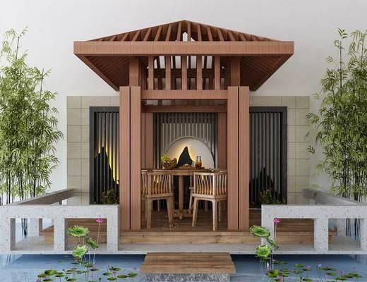 园艺小品, 新中式园艺小品, 凉亭, 竹子, 桌椅组合, 水池, 新中式