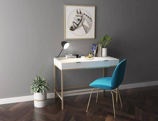 新中式书桌, 新中式, 书桌, 椅子, 植物, 台灯