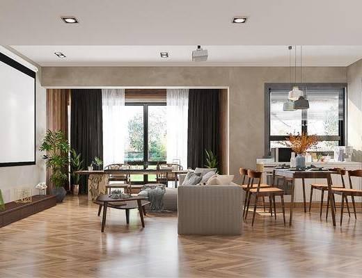 沙发组合, 茶几, 吊灯, 餐桌, 橱柜组合, 装饰画