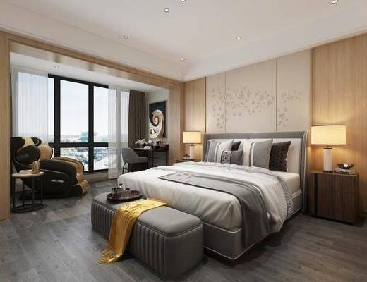卧室, 床具组合, 桌椅组合, 现代