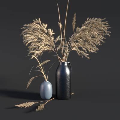 花瓶, 芦苇, 植物, 摆件